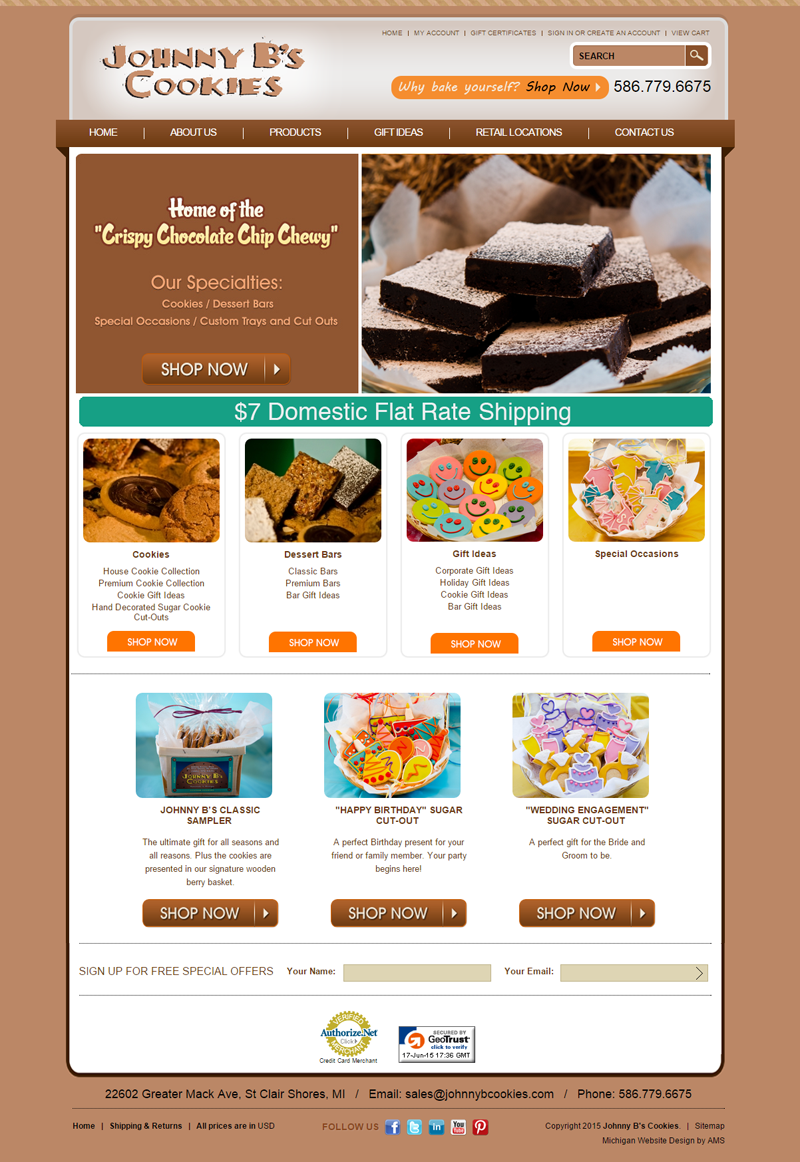 Johnny B's Cookies website design by Advanced Media Solutions