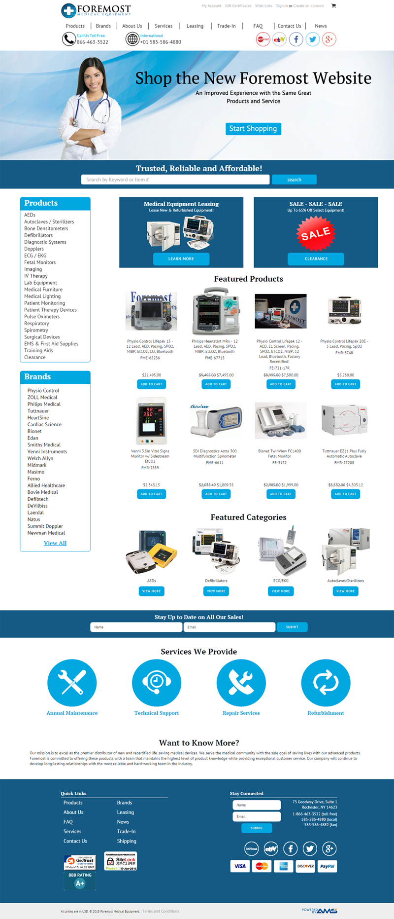 Foremost Medical Equpment website design by Advanced Media Solutions