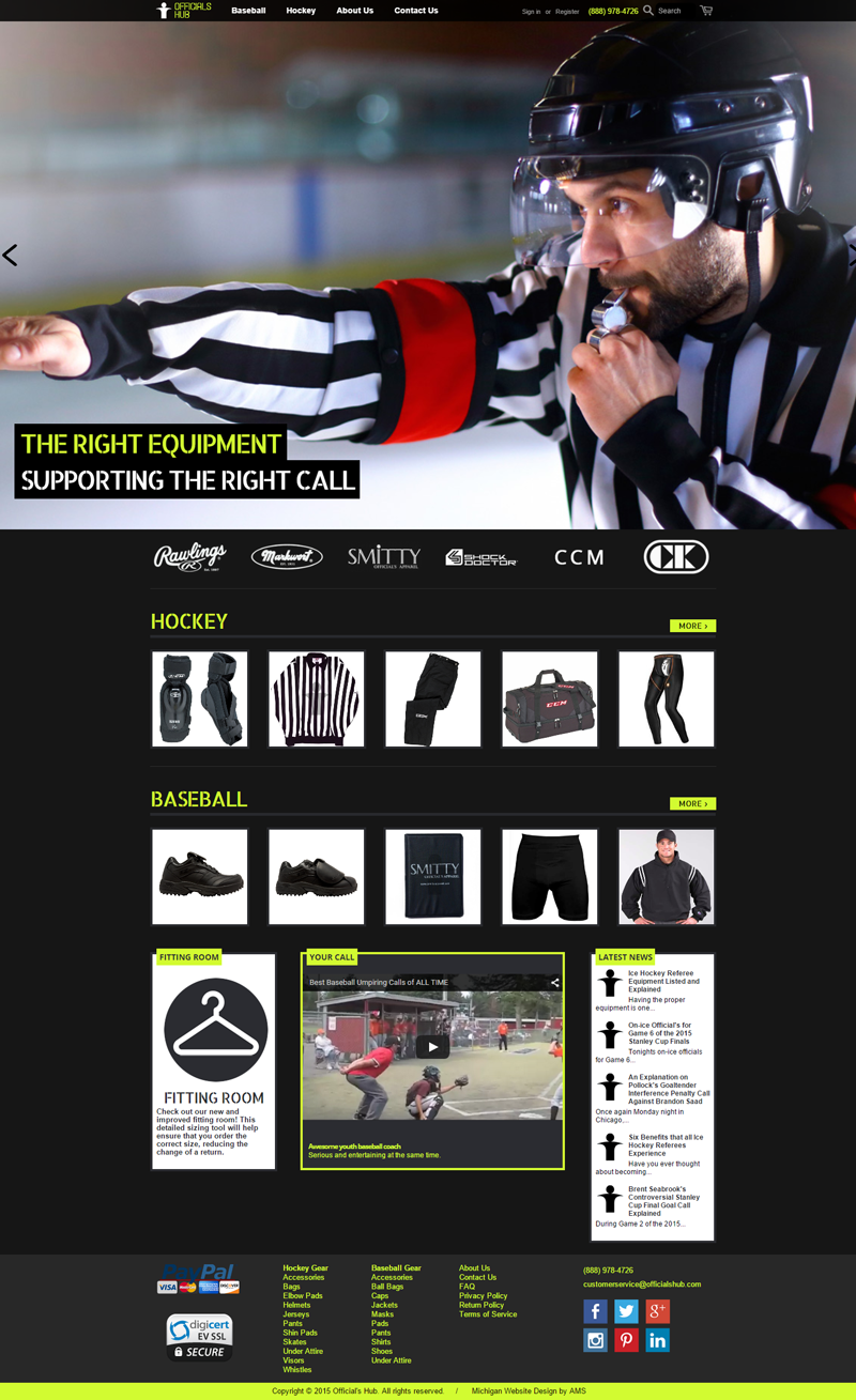 Officials Hub website design by Advanced Media Solutions