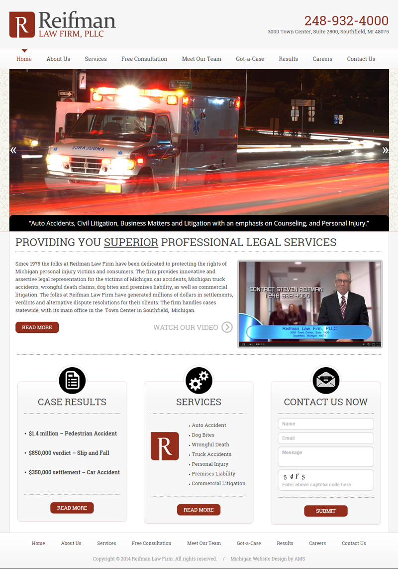 Reifman Law Office website design by Advanced Media Solutions