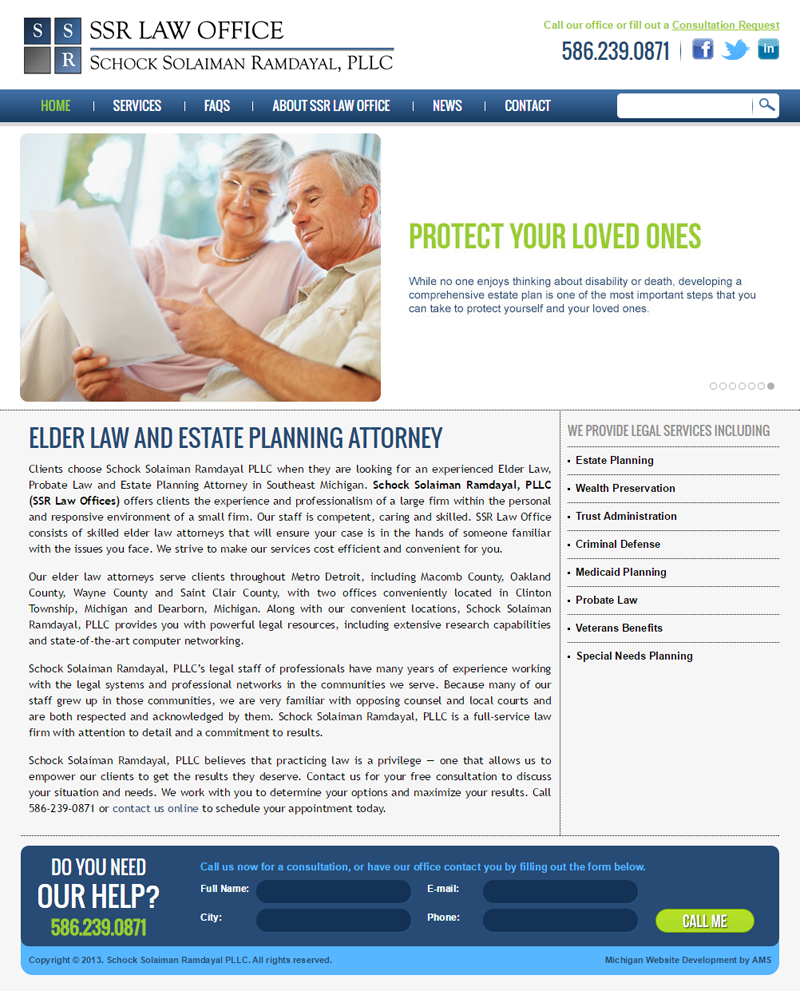 SSR Law Office website design by Advanced Media Solutions