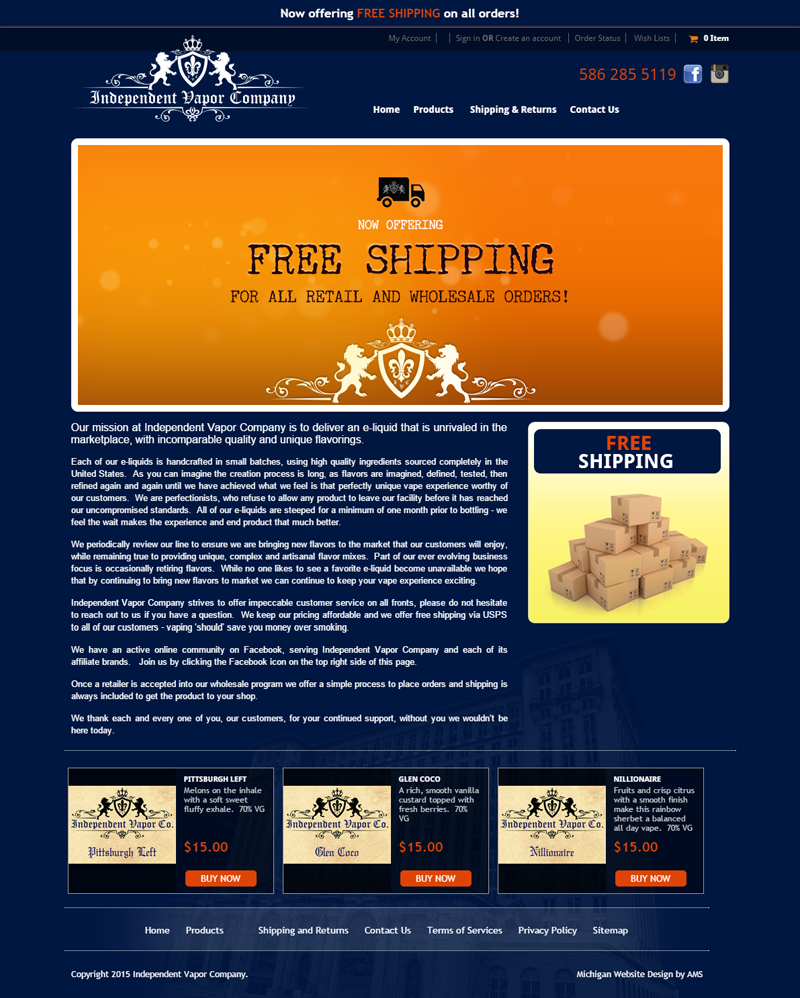 Independent Vapor Co. website design by Advanced Media Solutions