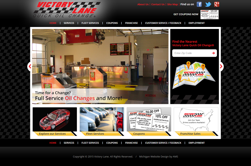 Victory Lane Quick Oil Change website design by Advanced Media Solutions